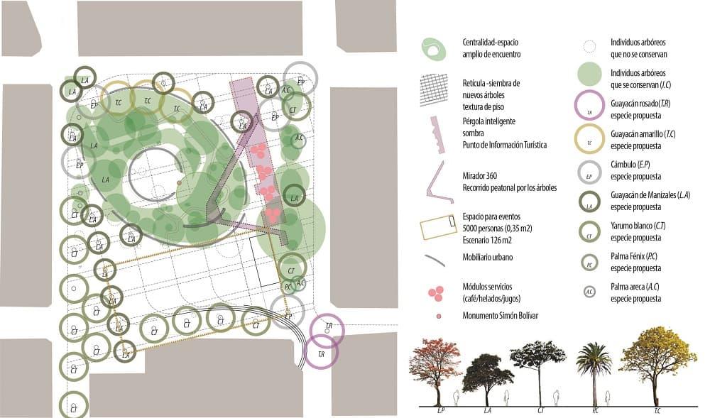 Zonificación y Vegetación Plaza de Bolívar